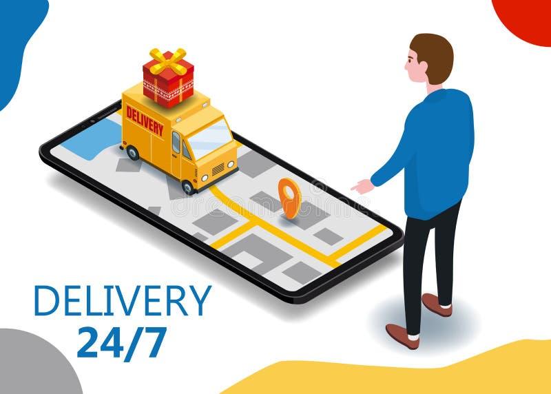 Comprador del smartphone de la entrega del cargo de Isometry, furgoneta, cami?n, ruta de la navegaci?n del mapa de la ciudad, pun stock de ilustración