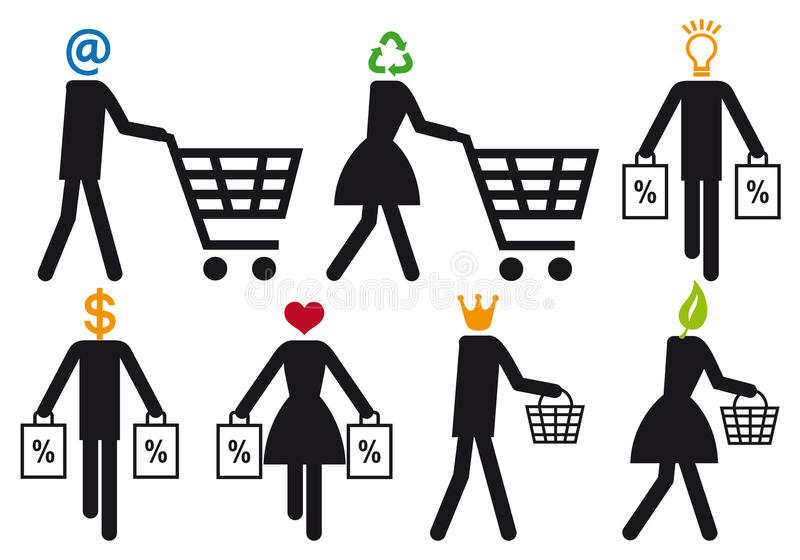 Comprador elegante, conjunto del icono del vector libre illustration