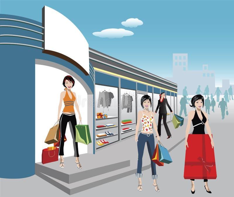 Compradores ilustración del vector