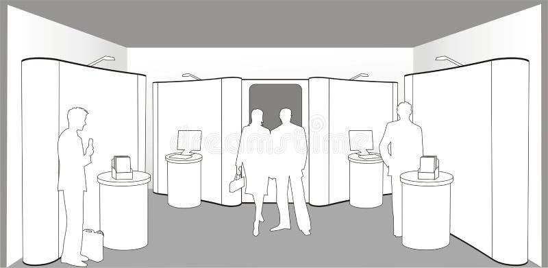 Compradores en una exposición stock de ilustración