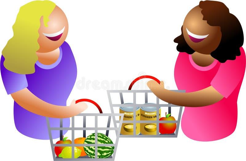 Compradores felices ilustración del vector