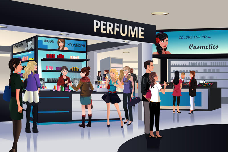 Compradores que hacen compras para el cosmético en grandes almacenes libre illustration