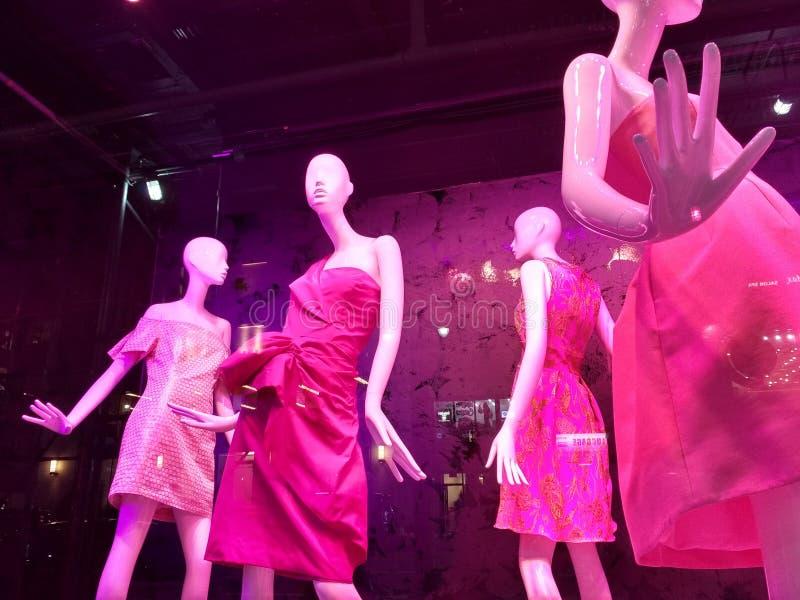 Comprando em NYC, janela de loja elegante, Manhattan, New York City, NY, EUA imagem de stock