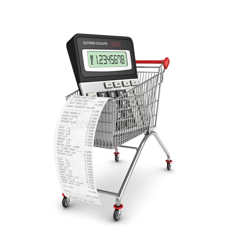 Comprando lavre o recibo, calculadora ilustração stock