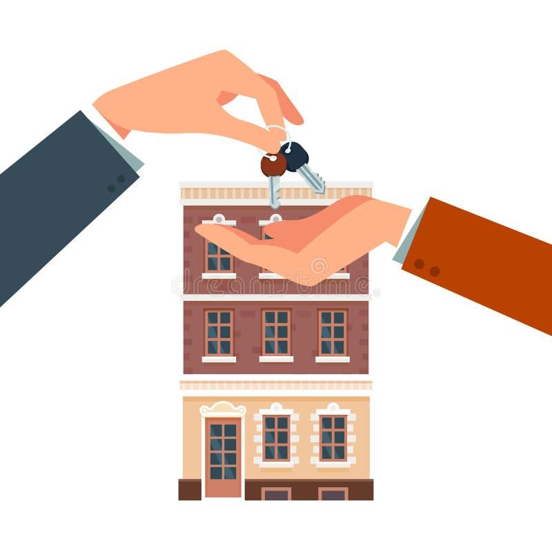 Comprando o affittando una nuova casa illustrazione di stock