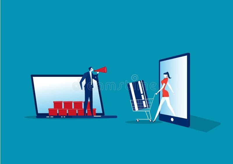 Comprando promoção de vendas de aplicativos on-line estilo plano Anuncie banners ou cartazes de folheto com smartphone ilustração do vetor