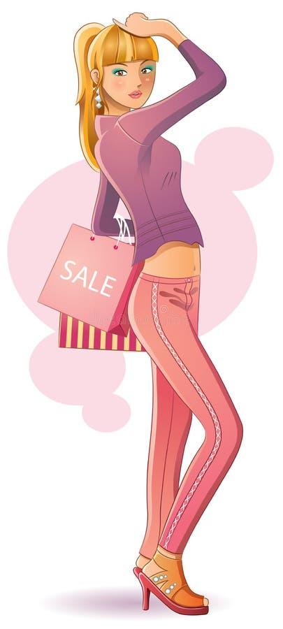Compras atractivas de la muchacha ilustración del vector