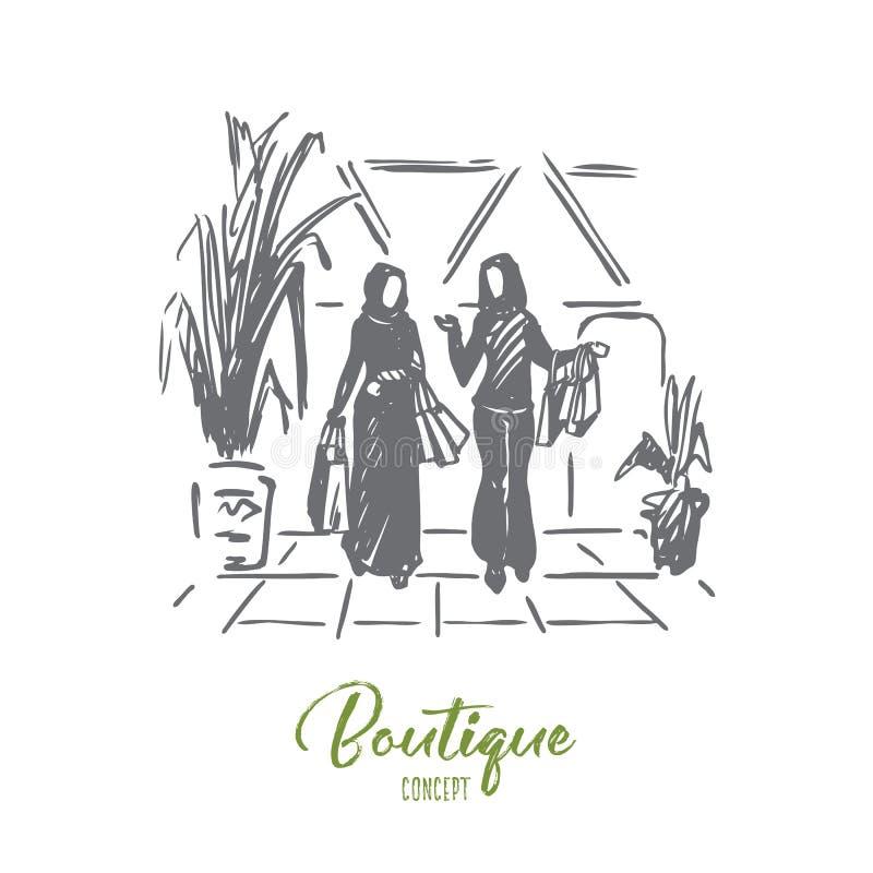 Compras, boutique, musulmán, árabe, concepto del hijab Vector aislado dibujado mano ilustración del vector
