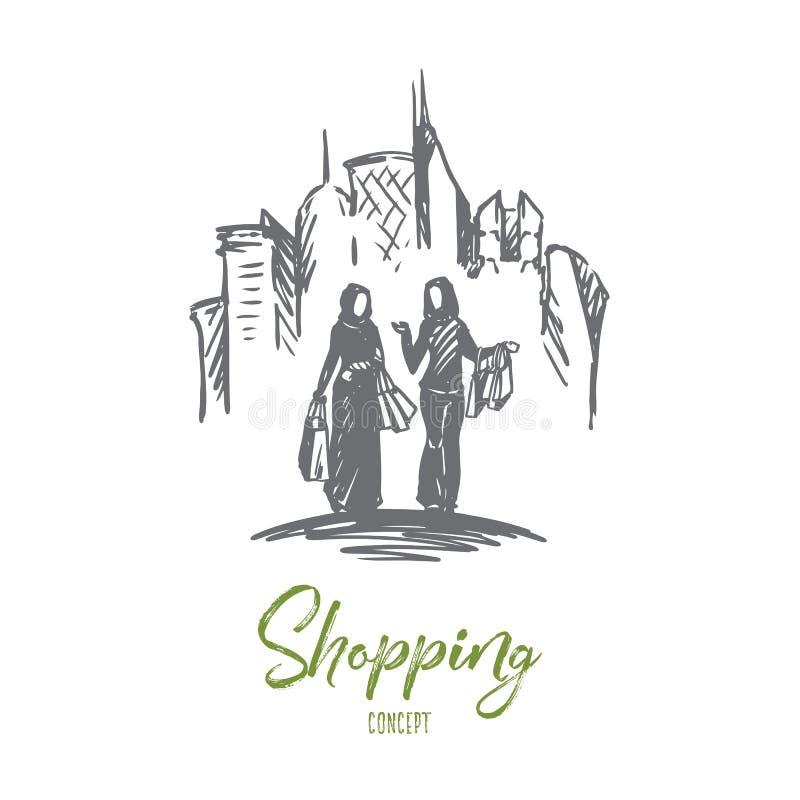 Compras, ciudad, musulmán, árabe, concepto del hijab Vector aislado dibujado mano stock de ilustración