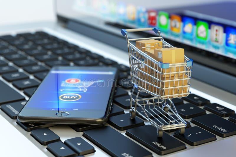 Compras, compras de Internet y concepto en línea del comercio electrónico fotografía de archivo libre de regalías