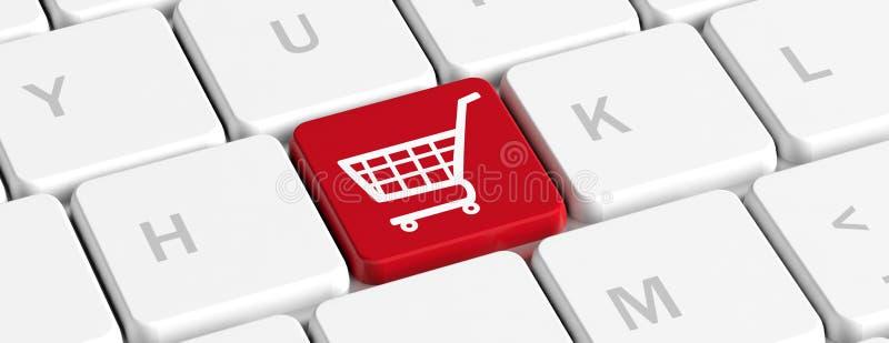 Compras de E Botón dominante rojo con un carro de la compra en un teclado de ordenador, bandera ilustración 3D stock de ilustración