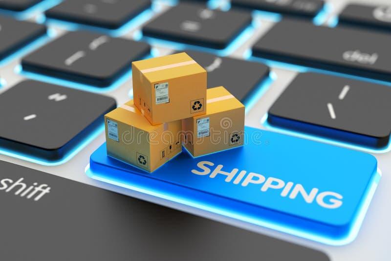 Compras de Internet, compras en línea, comercio electrónico, entrega de los paquetes y concepto del servicio de envío ilustración del vector