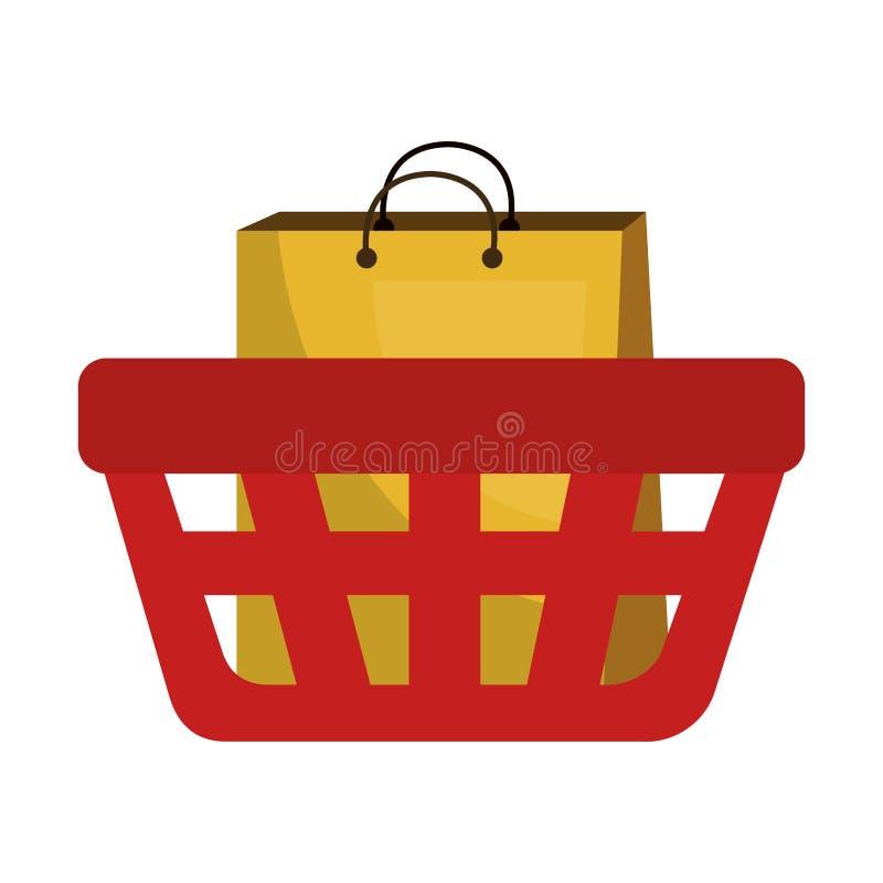 Compras de la cesta con el icono del anuncio publicitario de las bolsas de papel ilustración del vector