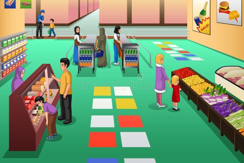 Compras de la gente en el ejemplo del colmado stock de ilustración