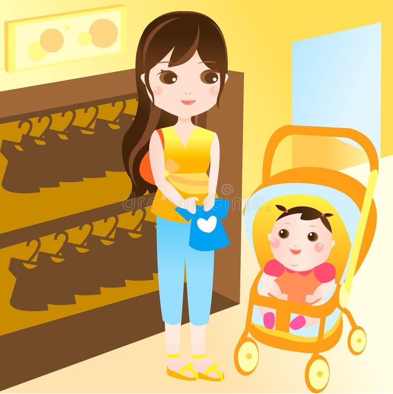 Compras de la madre con el bebé ilustración del vector