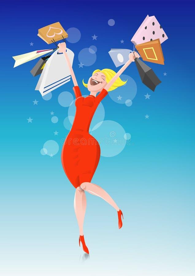 Compras de la mujer ilustración del vector