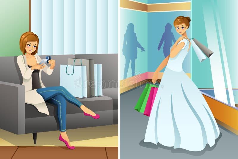 Compras de la mujer en línea y en la alameda para su boda stock de ilustración