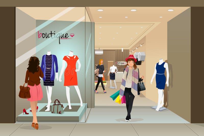 Compras de la mujer en una alameda ilustración del vector
