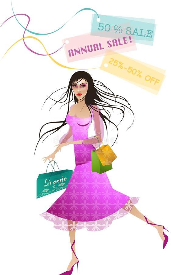 Compras de la mujer en ventas ilustración del vector