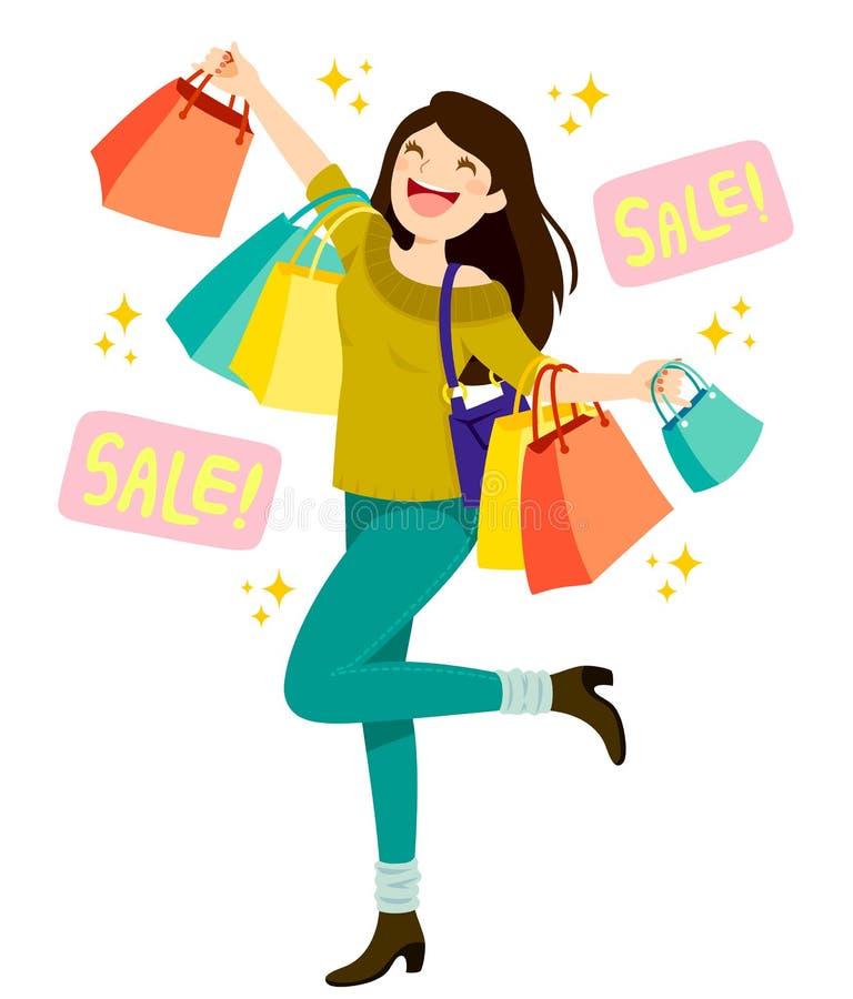 Compras de la mujer para las ventas ilustración del vector