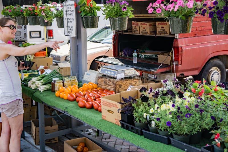 Compras de la mujer para las verduras frescas fotografía de archivo libre de regalías