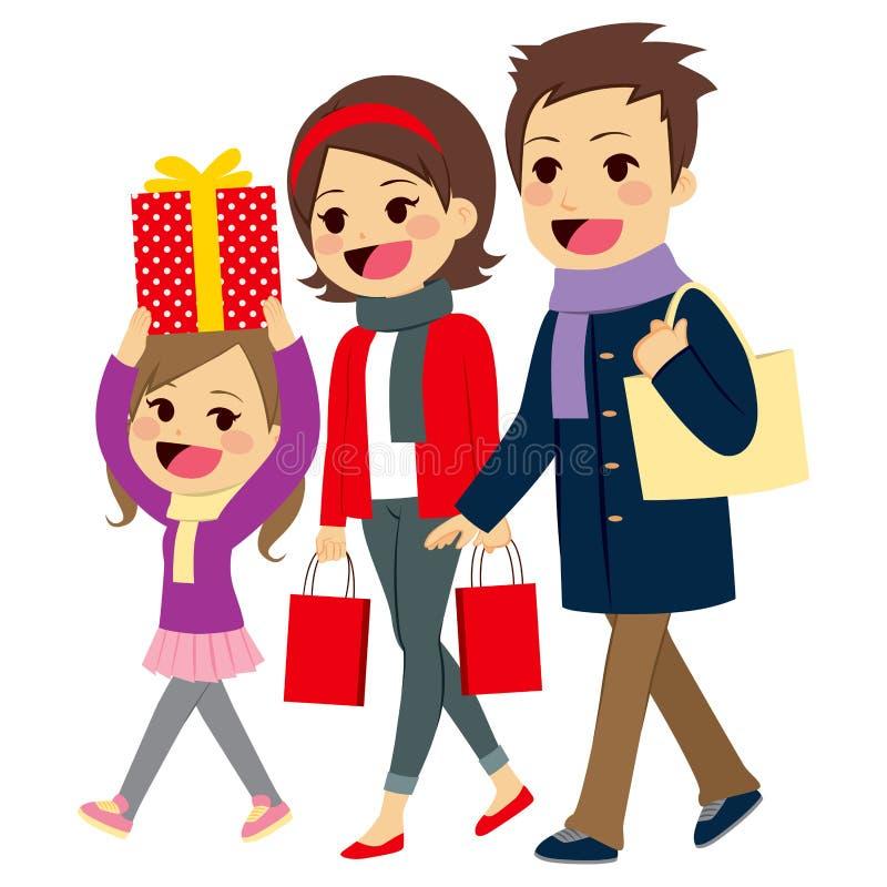 Compras de la Navidad de la familia que van stock de ilustración