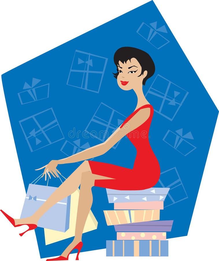 Compras de la señora ilustración del vector