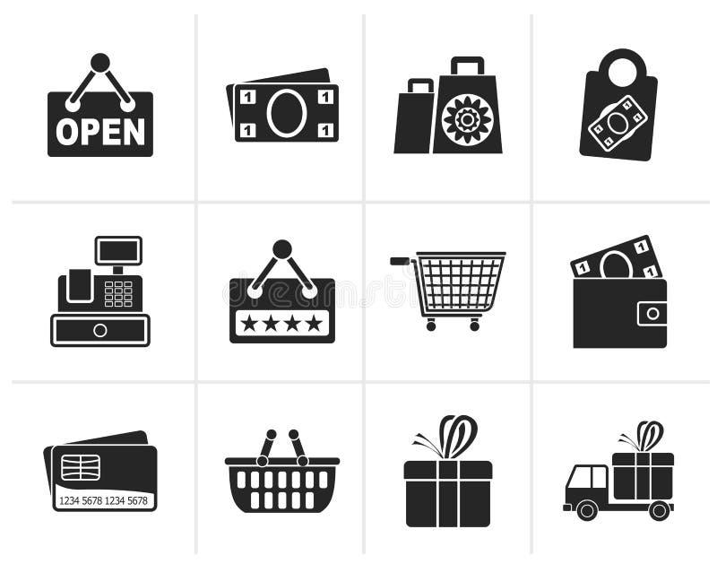 Compras de la silueta e iconos al por menor ilustración del vector