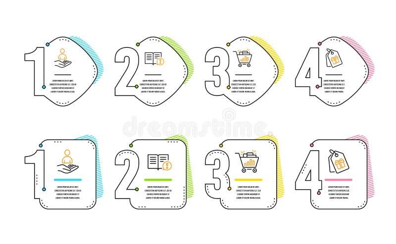 Compras de los hechos, de Seo y sistema de los iconos del reclutamiento Los vales firman Información importante, Analytics, hora  libre illustration