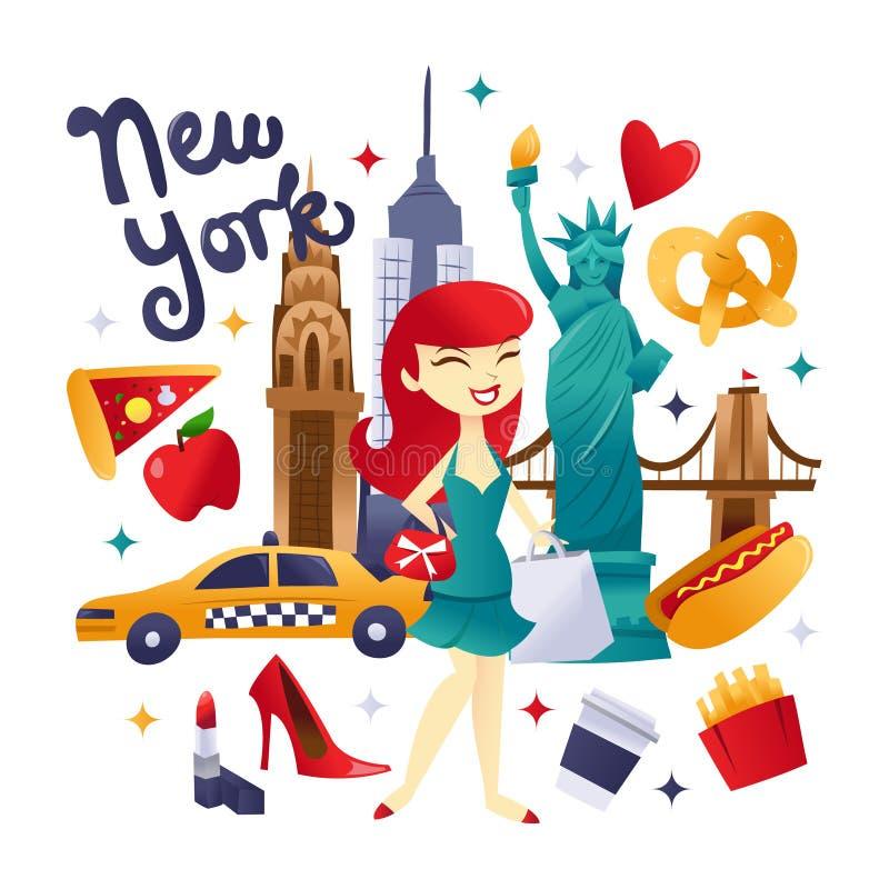 Compras de Nueva York y cultura lindas estupendas de la comida libre illustration