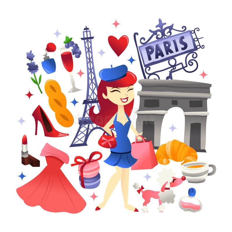 Compras de París y cultura lindas estupendas de la comida libre illustration