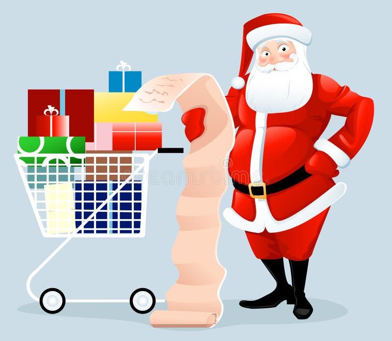 Compras de Santa stock de ilustración