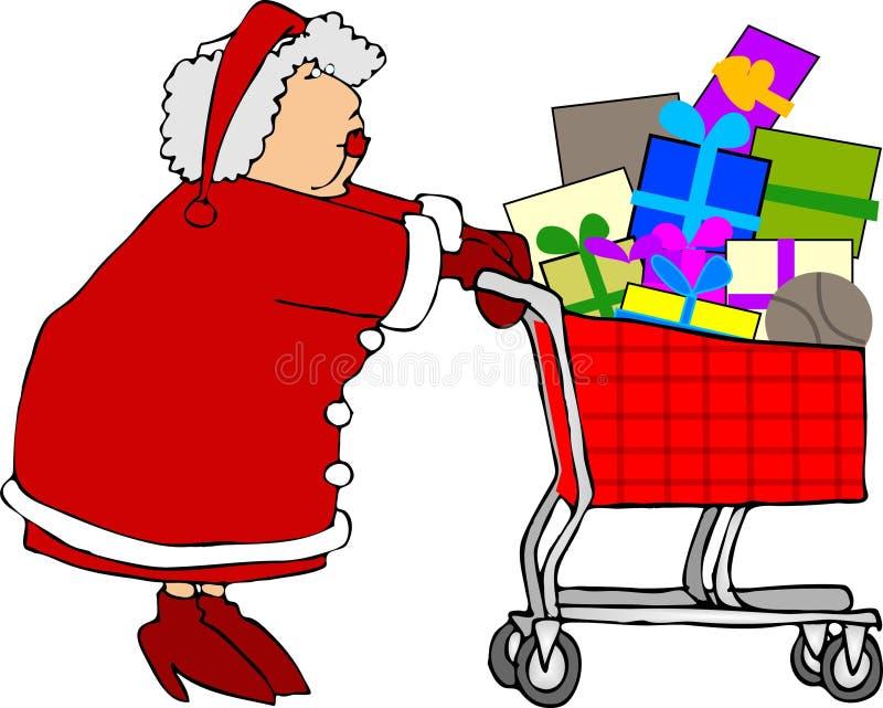 Compras de señora Claus stock de ilustración