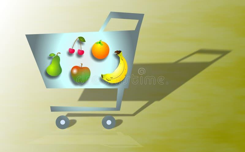 Compras de tienda de comestibles stock de ilustración