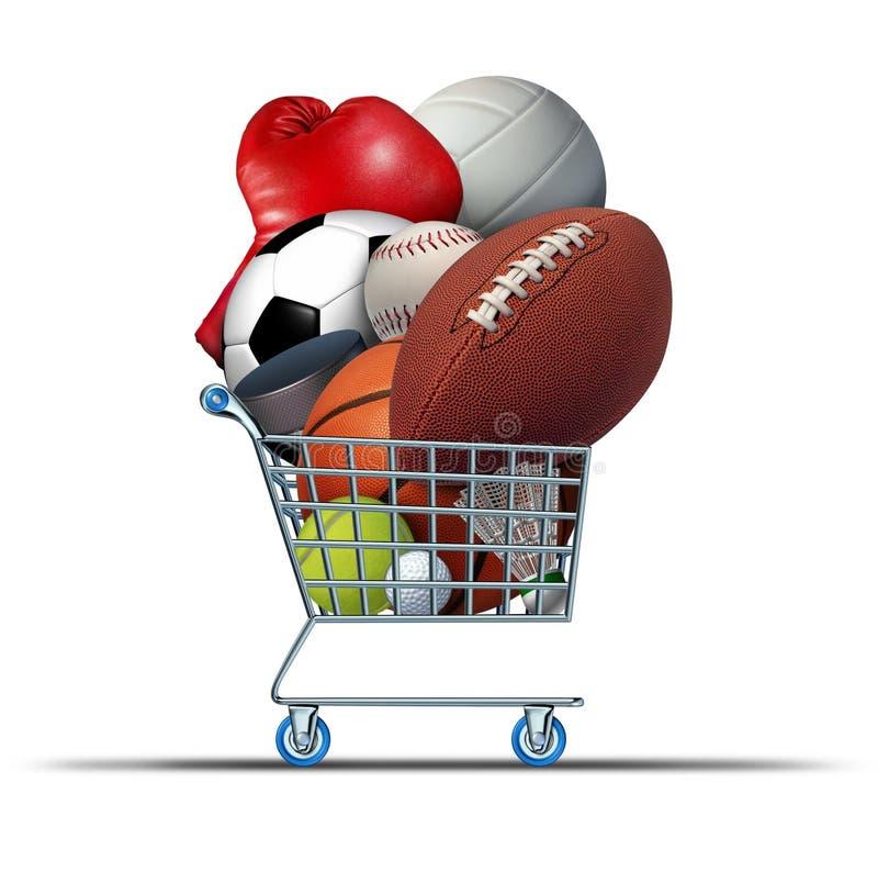 Compras del equipo de deportes stock de ilustración