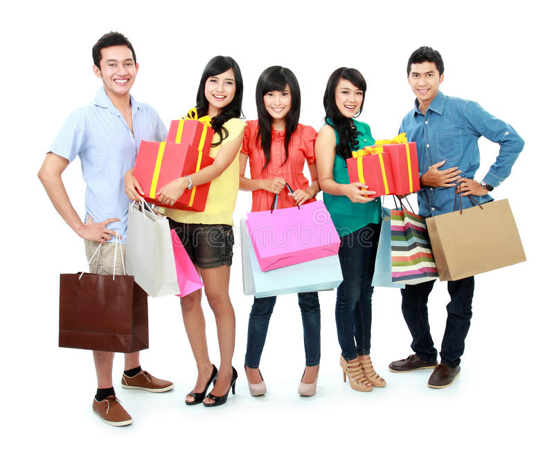 Compras del grupo de personas imágenes de archivo libres de regalías