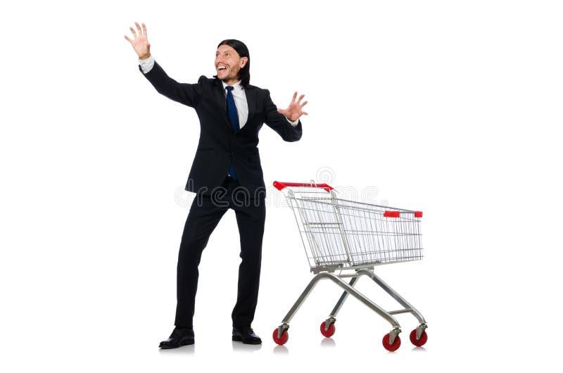 Compras del hombre con el carro de la cesta del supermercado aislado imagen de archivo libre de regalías