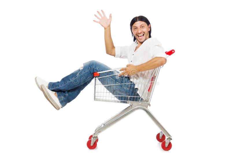 Compras del hombre con el carro de la cesta del supermercado aislado imagenes de archivo
