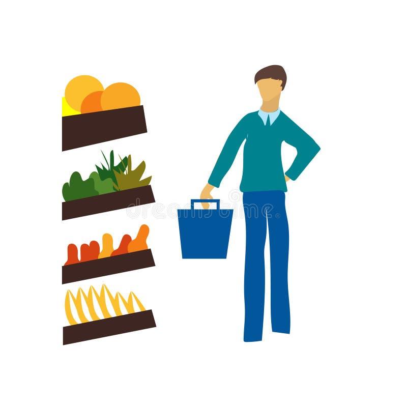 Compras del hombre en la muestra y el símbolo del vector del vector de la tienda aislados en el fondo blanco, compras del hombre  libre illustration