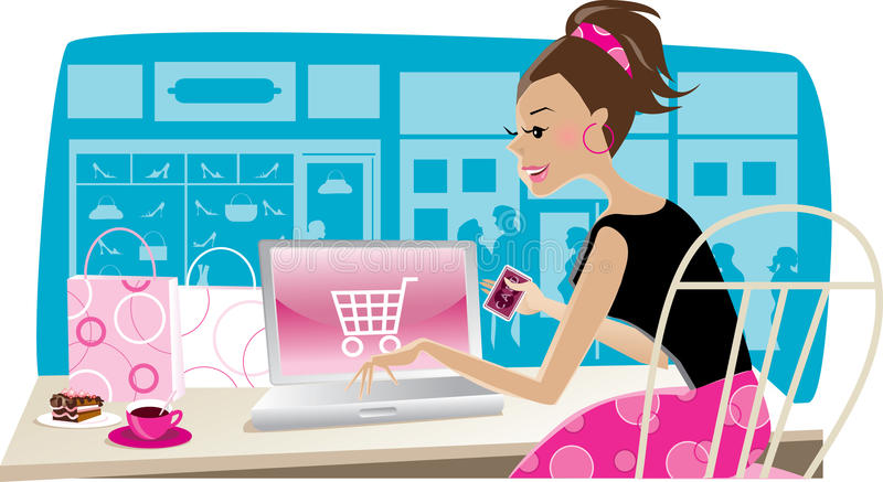 Compras del Internet libre illustration