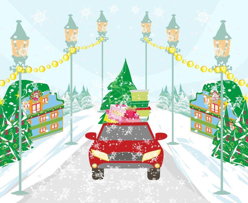 Compras del invierno en la ciudad ilustración del vector