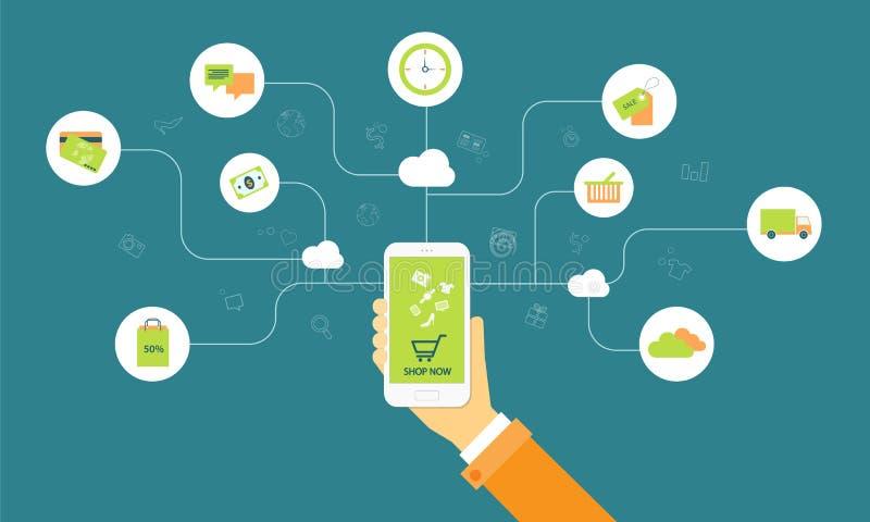 Compras del negocio en línea en concepto del móvil de la nube stock de ilustración
