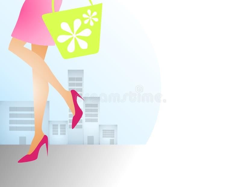 Compras del resorte de la mujer en ciudad libre illustration