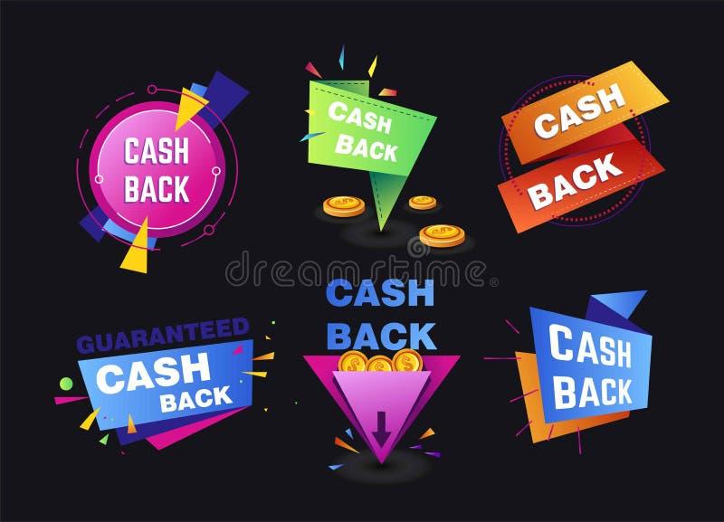 Compras del servicio de la devolución de efectivo e iconos aislados vuelta del dinero fotos de archivo libres de regalías