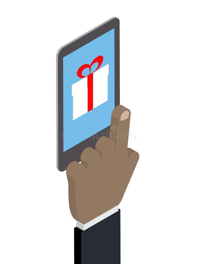 Compras del teléfono, caja de regalo Compras del afroamericano de la mano ilustración del vector