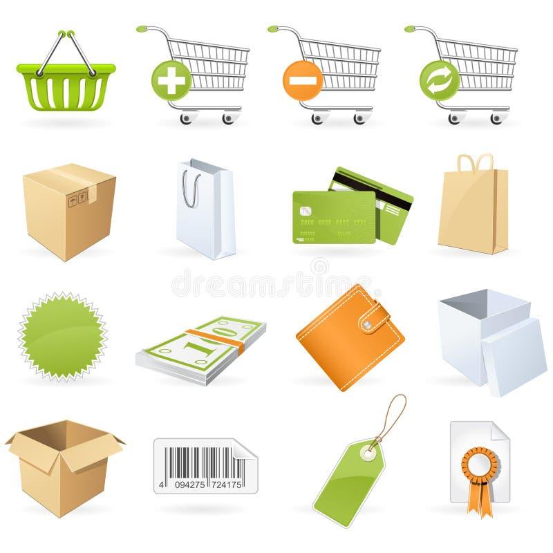 Compras e iconos al por menor ilustración del vector