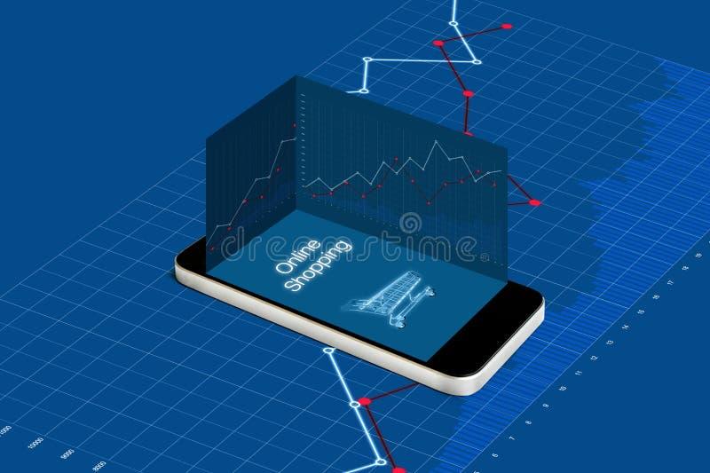 Compras e inversión en línea en negocio en línea de la tienda al por menor Teléfono elegante móvil con el aumento del diagrama de stock de ilustración