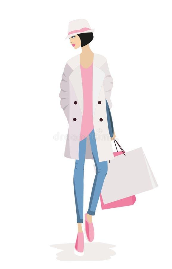 Compras elegantes de la mujer de la moda libre illustration