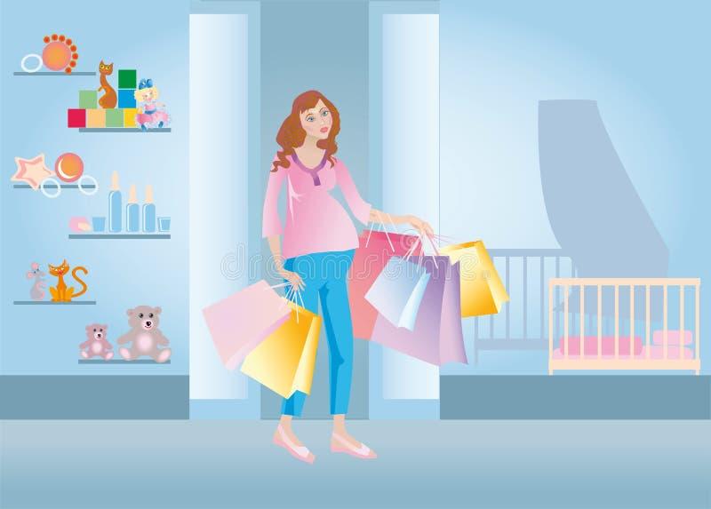 Compras embarazadas ilustración del vector