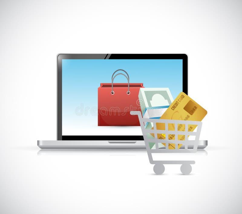 Compras en línea Concepto del ordenador stock de ilustración